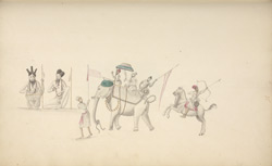 Two holy men and two equestrian figures. Wall painting at Anegondi, January 1801